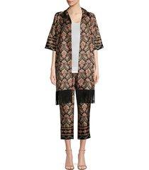 kobi halperin women's jayce fringe jacket - black multi - size xs