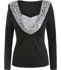 plus size skulls print ruched pullover hoodie