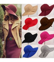 magic vintage women wide brim floppy warm wool-look/effect hat trilby bowler cap