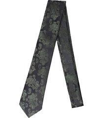 gravata alfaiataria burguesia jacquard 1260 fios preto e verde - kanui
