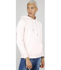 blusão masculino com bolso e capuz rosa claro
