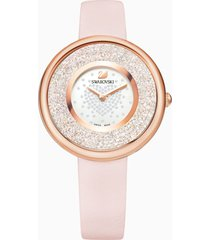 orologio crystalline pure, cinturino in pelle, rosa, pvd oro rosa