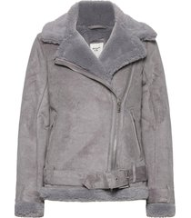 anf womens outerwear outerwear faux fur grå abercrombie & fitch