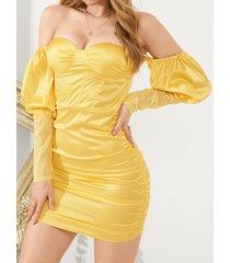 yoins elegante satén fruncido fuera del hombro mangas largas mini vestido