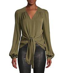 elie tahari women's kali tie front silk blouse - tuscan olive - size xs