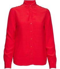 o2. crepe shirt blouse blouse lange mouwen rood gant
