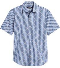 men's bugatchi shaped fit short sleeve button-up shirt