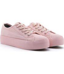tenis en lona suela alta rosado