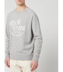 maison kitsuné men's palais royal sweatshirt - grey melange - m