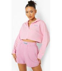 sweat shorts met label, pink