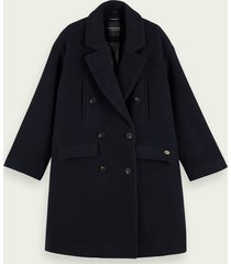 scotch & soda double-breasted peacoat van een wolmix
