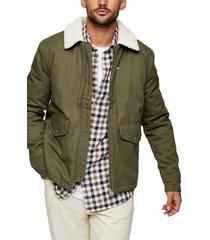 men's topman nebraska faux shearling collar jacket, size large - green