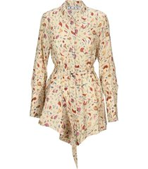 off-white off white floral shirt dress