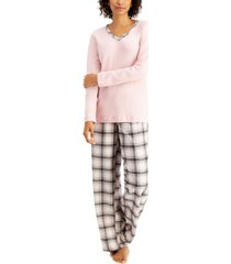 charter club petite mixit solid top & plaid flannel pajama pants set, created for macy's
