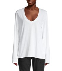 james perse women's v-neck top - black - size 1 (s)