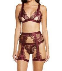 oh la la cheri open cup bralette, high waist panties & suspenders set, size large in zinfandel at nordstrom