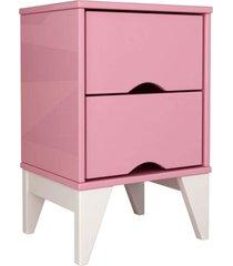 mesa de cabeceira 2 gav. twister quartzo rosa/branco tcil mã³veis - rosa - dafiti