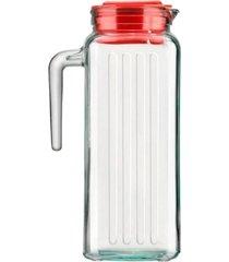 jarra de vidro com tampa vermelha para suco 1,2 litros sture móveis