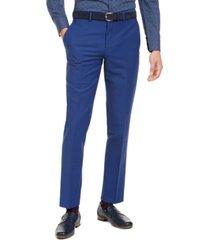 bar iii men's slim-fit performance active stretch blue sharkskin suit separate pants, created for macy's