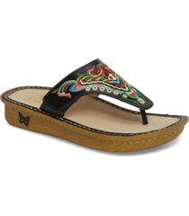 women's alegria 'vanessa' thong sandal, size 6-6.5us - black