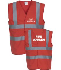 hi vis viz vest safety    fire warden printed front and back