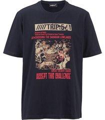 t-shirt men plus marinblå::ljusröd