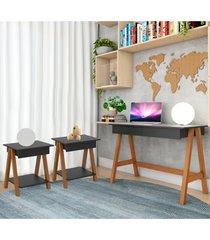 escrivaninha cavalete e conjunto mesa lateral amãªndoa preto casah - preto - dafiti