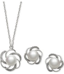 cultured freshwater pearl (6mm) and diamond accent jewelry set in sterling silver