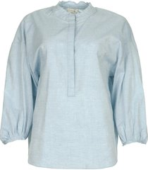 blouse met ballonmouwen cammy  blauw