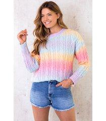 tie dye gebreide trui rainbow