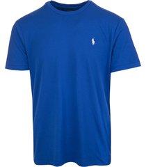 man royal blue jersey t-shirt with white logo