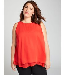 lane bryant women's double-layer tunic top 14 flame scarlet