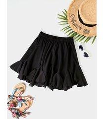 falda de gasa con cintura elástica con volantes negros