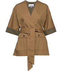 double cotton outerwear jackets utility jackets beige ganni