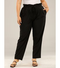 plus tamaño de amarre diseño bolsillos laterales pantalones