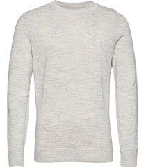 anf mens sweaters stickad tröja m. rund krage grå abercrombie & fitch