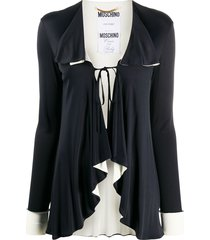 moschino pre-owned tie-front waterfall cardigan - black