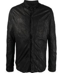 giorgio brato distressed-effect leather jacket - black
