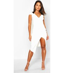 cap sleeve wrap midi dress, white