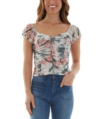 bcx juniors' ruched tie-dyed mesh top