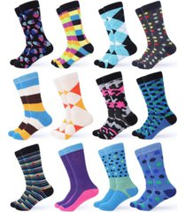 gallery seven men's funky colorful dress socks pack of 12