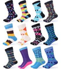 gallery seven men's funky colorful dress socks pack of 12