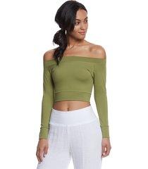 mika yoga wear women's chloe tie back crop long sleeve t-shirt - seaweed x-small polyester/lycra
