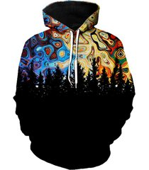 forest galaxy print kangaroo pocket hoodie