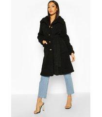 longline teddy belted coat, black