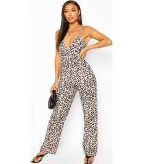 leopard print tie back strappy jumpsuit, white