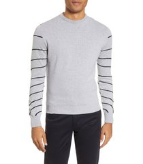men's christopher bates stripe sleeve crewneck sweater, size small - grey