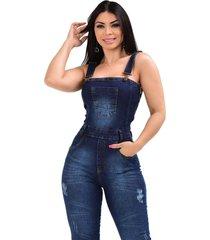 macacã£o jardineira jeans longa de alã§a regata - ewf jeans - estilo clã¡ssico - azul escuro - azul - feminino - dafiti