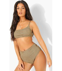 mix & match gekreukelde bikini top met vierkante hals, light khaki