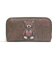 etro teddy bear print purse - brown